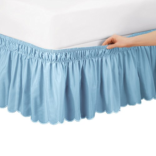 Collections Etc Scalloped Elastic Bed Wrap Around, Easy Fit, Dust Ruffle Bedskirt, Blue, Twin/Full