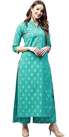 ANNI DESIGNER Women's Cotton Straight Kurta with Palazzo Set (Green)