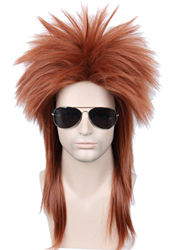 (Linfairy 80s Heavy Metal Halloween Wigs Mullet Fancy Dress Wig Red)