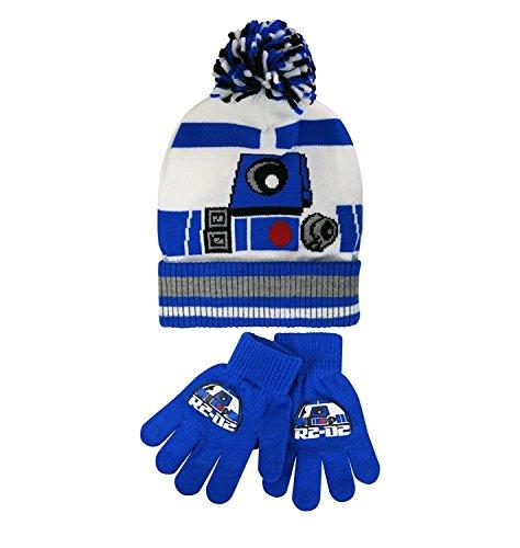 Star Wars Big Boys' R2-D2 Winter Beanie and Glove Set, 100% Acrylic Knit, White, (R2d2 Hat)