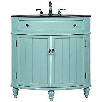 24 benton collection thomasville blue slim corner bathroom sink vanity gd 47555 - Corner Bathroom Sink