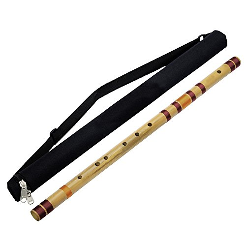 Professional Transverse Bansuri Base Bamboo Flute (D # Tune) Woodwind Musical Instrument 31.5 Inches