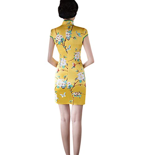 Slim Elegante noche Retro Mujer Floral Hzjundasi Cheongsam Impreso Corto de 05 Vestido Chino Qipao Seda Style waxUqv