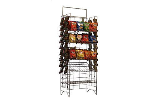 Commercial Grade Metal Convenience Store Chip / Bagged Merchandise Rack, Black - Chip Rack Set