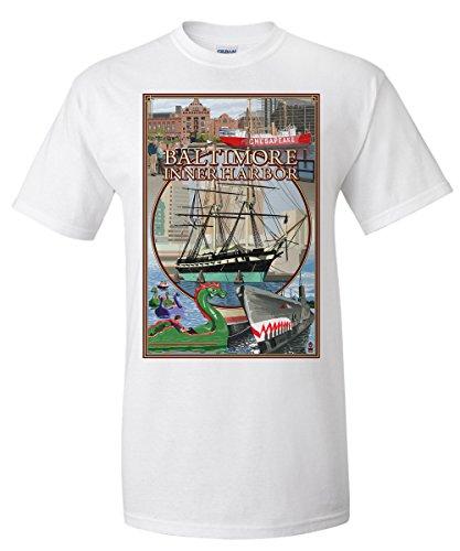 Baltimore, Maryland - Inner Harbor Scenes (White T-Shirt - Harbor Inner Baltimore Shops