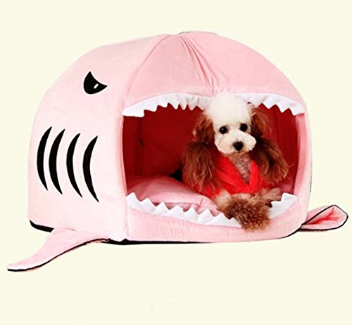 Prettysell® Cute Animal Shark Mouth Design Round Comfortable Indoor House Shelter Puppy Kitten Dog Cave Cat Bed with Big Paw Print and Removable Pet Bed Mat (Medium, Pink)