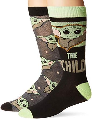 Star Wars The Mandalorian The Child Men's 2 Pack Crew Socks