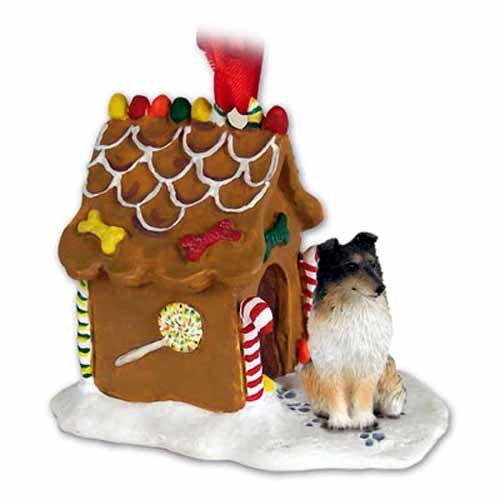 SHELTIE SHETLAND SHEEP DOG TRI-COLOR Dog NEW Resin GINGERBREAD HOUSE Christmas Ornament 20B