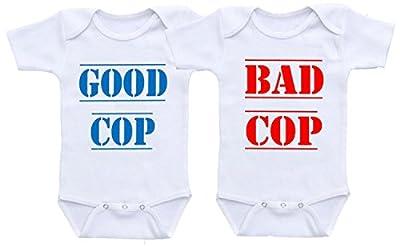 Dazzle Labs Unisex Good Cop Bad Cop Funny Twins Baby Onesie Bodysuit