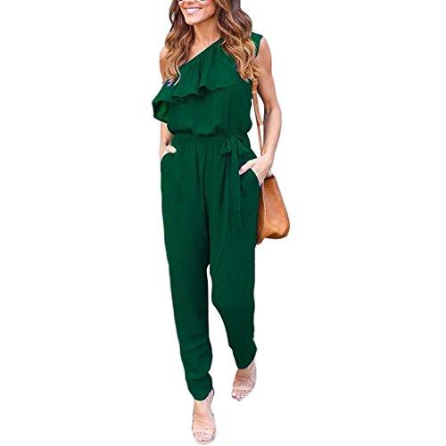 Womens Prison Jumpsuit (Party Casual Chiffon Green Jumpsuit for Women-M)