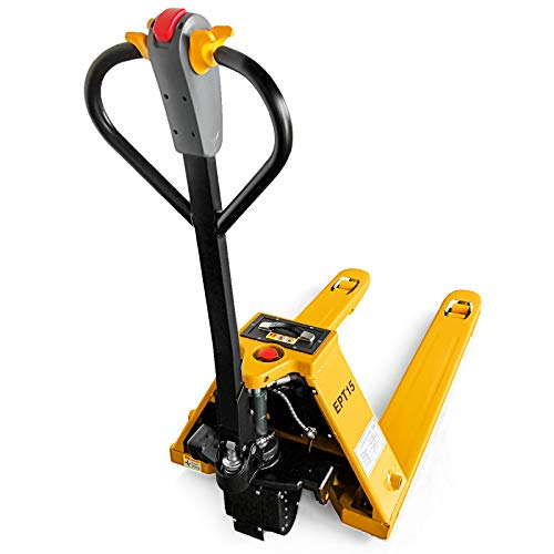 Mophorn Pallet Jack 3300 Lbs Capacity 48 Inch Electric Pallet Jack Emergency Stop Device Electric Pallet Truck for Warehouse Dock Supermarket Use (1.5T)