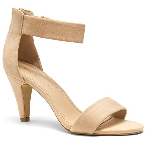 - Herstyle RROSE Women's Open Toe High Heels Dress Wedding Party Elegant Heeled Sandals Beige 9.0