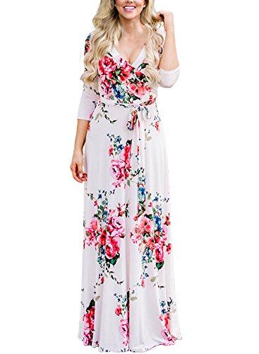AlvaQ Women Spring Elegant 3 4 Long Sleeve Wrap V Neck Floral Maternity Long Maxi Dress Plus Size White XX-Large