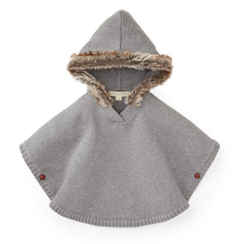 Hope & Henry Girls' Fur Trimmed Grey Sweater Cape Made with Organic Cotton by Hope & Henry