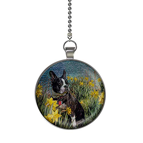 Gotham Decor Boston Terrier in Daffodils Ceiling Fan/Light Pull Pendant with Chain