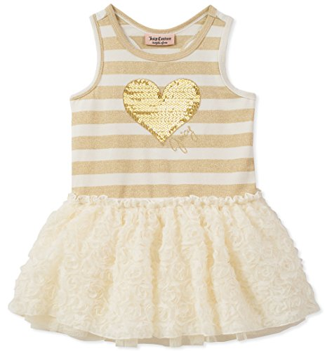 (Juicy Couture Girls' Toddler Casual Dress, Gold/egret)