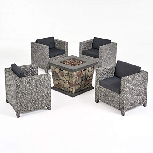 Great Deal Furniture Christine Outdoor 4 Club Chair Chat Set with Fire Pit, Mix Black and Dark Gray (Fire Patio Pit With Sets Conversation Propane)