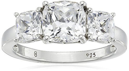 Platinum-Plated Sterling Silver Cushion-Cut 3-Stone Ring made with Swarovski Zirconia (3 cttw), Size 7