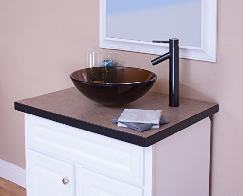 Topia TSFS-084T4436ORB Glass Above Counter Round Bathroom Sink with Faucet, 16'' L x 16'' W x 5.5'' H, Oil rubbed bronze