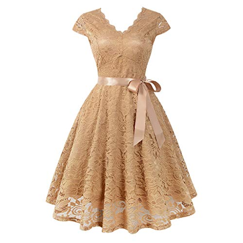 iLUGU Women Ball Party Lace Panel V-Neck Short Sleeve Vintage Waist Lace Dress ()