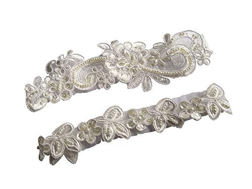 YuRongsxt  Wedding Garter Set Sequins Floral Bridal Pearls Garter Set G35 (Ivory) -