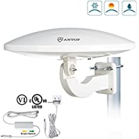 ANTOP UFO 360° Omni-directional Outdoor HDTV Antenna 65 Miles Range with Smartpass Amplified & Built-in 4G LTE Filter Fit Home/RV/Attic Use (33ft Coaxial Cable, 4K UHD Ready)