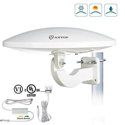ANTOP UFO 360° Omni-directional Outdoor HDTV Antenna 65 Miles Range with Smartpass Amplified & Built-in 4G LTE Filter Fit Home/RV/Attic Use (33ft Coaxial Cable, 4K UHD Ready) by ANTOP