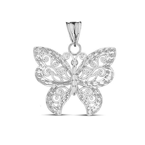 (Elegant Sterling Silver Filigree & Sparkle-Cut Butterfly Charm Pendant)