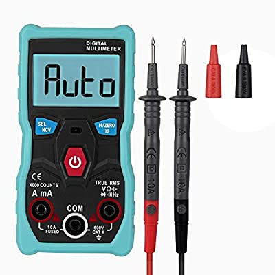 Auto Ranging Digital Multimeter 4000 Counts TRMS AC DC Voltage Current Resistance Tester Diode Continuity Testing Electrical Capacitance Frequency Meter Live Wire Detector Ammeter Voltmeter