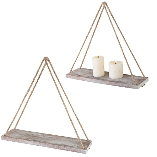 - MyGift 17-inch Rustic Whitewashed Brown Wood Hanging Rope Swing Shelves, Set of 2