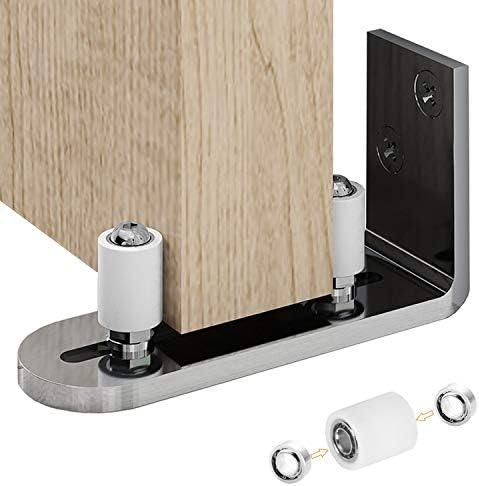 2 PCS Sliding Barn Door Bottom Adjustable Floor Guide Roller,Adjustable Roller,Wall Mount System,Flush Flat Bottom Design,8 Assemble Setup Options,Fit All Size Door