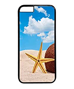 VUTTOO Iphone 6 Plus Case, Starfish And Coconut In Beach Sand PC Plastic Hard Case Cover for Apple Iphone 6 Plus 5.5 Inch PC Black