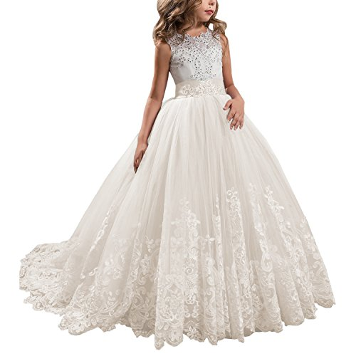 Flower Beaded Formal Gown - KSDN Ivory Wedding Flower Girls Dress Lace Tulle Communion Pageant Gown with Bow (US 12, Ivory)