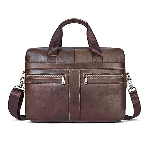 Business Briefcases Man for lawyer Genuine Leather Messenger Bag Men Shoulder Bags leather laptop men's briefcases 2019,2019coffee