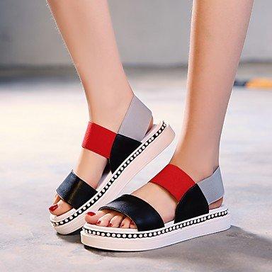 Verano Moda CN36 al PU US6 aire verde Black tacones pasear zapatos libre sandalias Mujer de UE36 casuales UE Confort de RUGAI UK4 R5FqwftR