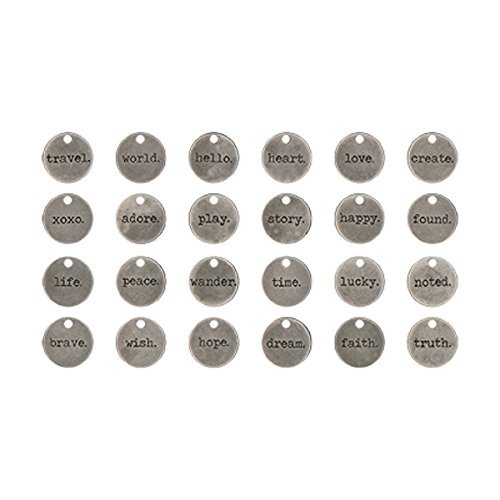 Typed Tokens by Tim Holtz Idea-ology, Pack of 24, Antique Nickel Finish, TH93203
