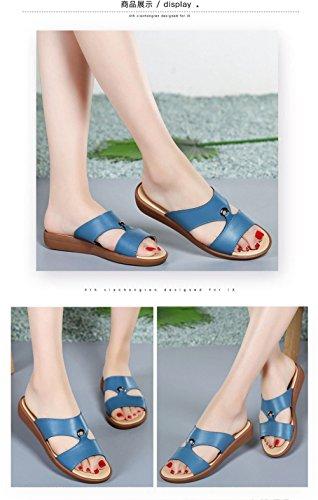 Planas Mujer Azul; con de Elegantes Sandalias Sandalias Zapatillas y y para Mujer Zapatillas Suaves Inferior XXM 39 Parte Minimalistas la Planas Shoes para Antideslizantes Madre Color Casuales Pq6g4Op