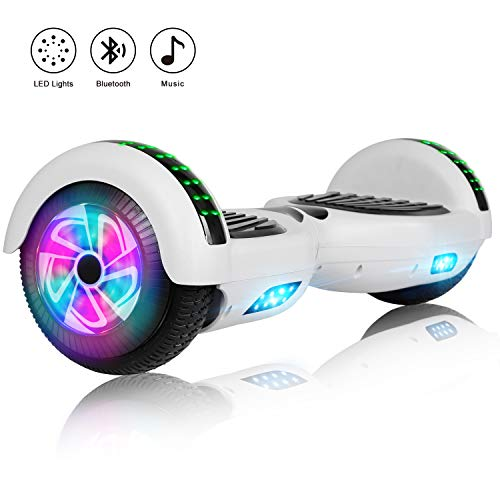Felimoda 6.5 Inch Self Balancing Hoverboards Scooter Two Wheel Balance Board with LED Light Built-in Wireless Speakers and Carry Bag-UL2272 Certified (White)
