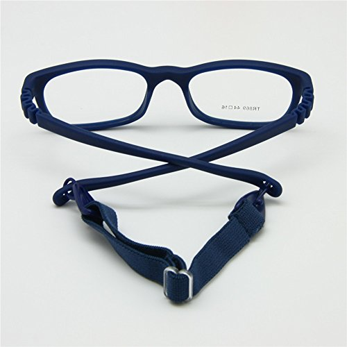 EnzoDate Children Glasses Frame Size 4416 with Strap No Screw 3-5Y (navy)