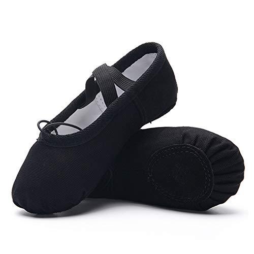 Ruqiji Ballet Shoes for Girls/Toddlers/Kids/Women, Canvas Ballet Shoes/Ballet Slippers/Dance Shoes, Black