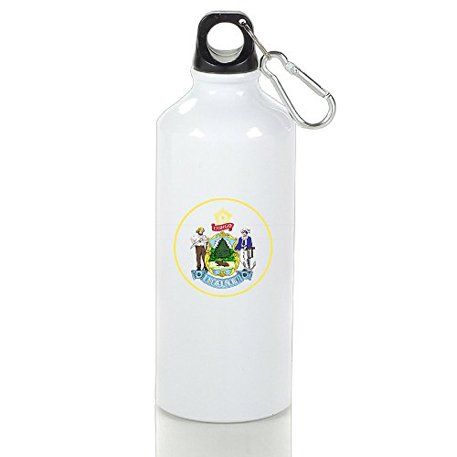 SIHA Dos LOVA Maine State Emblem Aluminum Sport Water Bottle, Great For Outdoor And Sport Activities. Metal Hook On The Top 600ml
