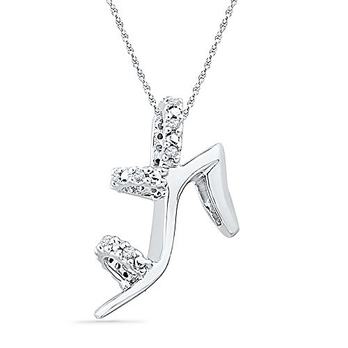 Fashion Shoe Pendant (10kt White Gold Womens Round Diamond Stiletto Shoe Pendant 1/20 Cttw (I2-I3 clarity; J-K color))