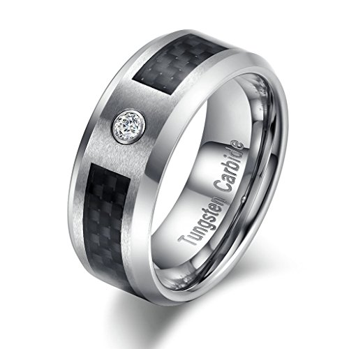 Tianyi 8mm Carbon Fiber Gladden Fit Tungsten Carbide Ring Cubic Zircon Anniversary Engagement Wedding Band Size 7