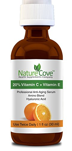 Vitamin C Serum For Face  20% Vitamin C  Vitamin E  Amino  Hyaluronic Acid Serum  Salon Strength Hyaluronic Acid That Neutralizes Free Radicals Leaving Your Skin Radiant and Youthful  Complete Anti Aging Formula Fully Guaranteed By NatureCove