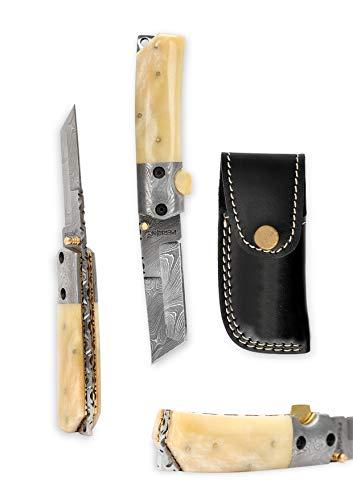 Perkin Custom Made Damascus Folding Knife Tanto Blade