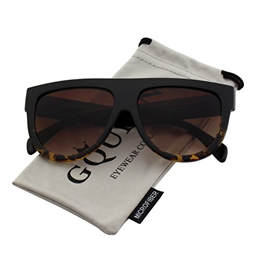 GQUEEN Fashion Designer Women Sunglasses Oversized Flat Top Square Frame Retro Gradient Lens MOS9 ()