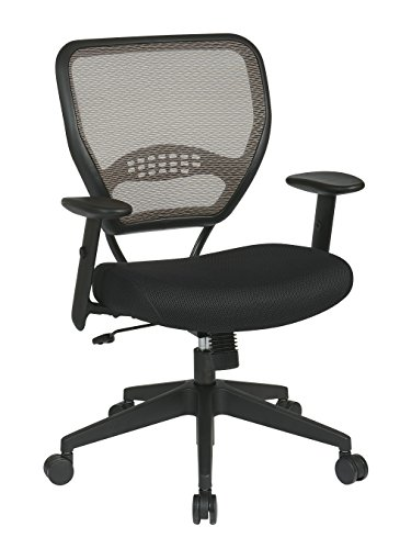 SPACE Seating AirGrid Latte Back and Black Padded Mesh Seat, 2-to-1 Synchro Tilt Control, Adjustable Arms and Tilt Tension with Nylon Base Managers -