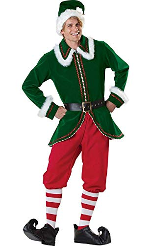 Neilyoshop Men's Elf Costume Adult Deluxe Santa Cosplay Suit Christmas Costume Medium]()