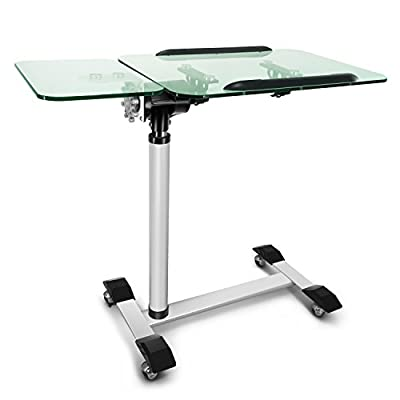 Kelligo Morden Tempered Glass Laptop Table tray, Bed Couch and Cover , Sofa Side Table Hold Home Office Nursing Table, Height Adjustable Desk With wheels and mouse pad(73-102cm)White