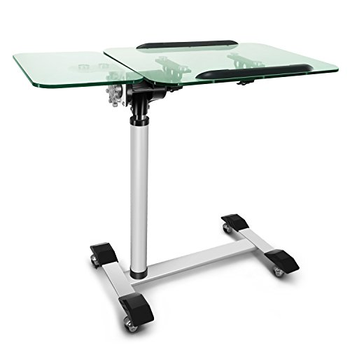 Kelligo Morden Tempered Glass Laptop Table tray, Bed Couch and Cover , Sofa Side Table Hold Home Office Nursing Table, Height Adjustable Desk With wheels and mouse pad(73-102cm)White (GLASS) by kelligo